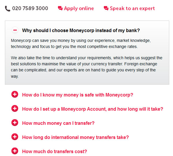 moneycorp FAQ section