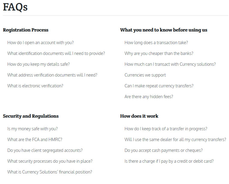 currency solutions support faq