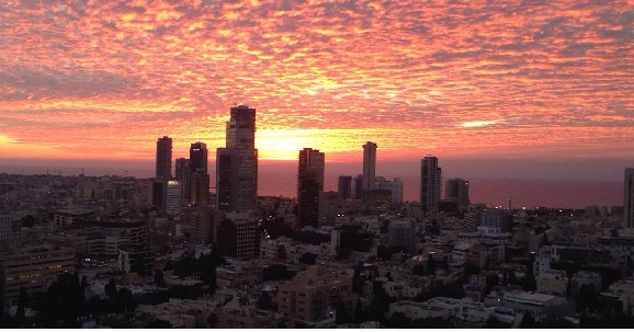 Sunset over Tel Aviv Real Estate
