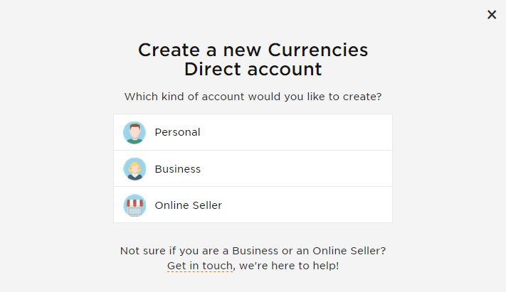 Currencies Direct sign up step 1