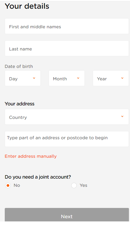 Currencies Direct sign up step 3